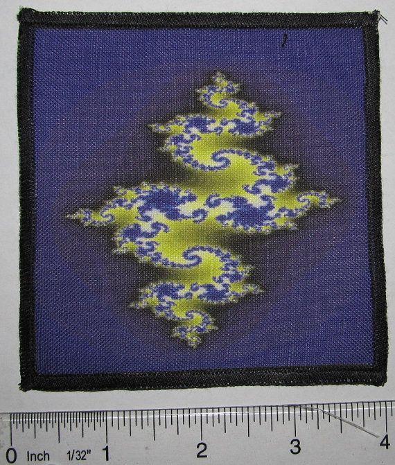 Printed Sew On Patch RANDOM BLUE FRACTAL Vest by