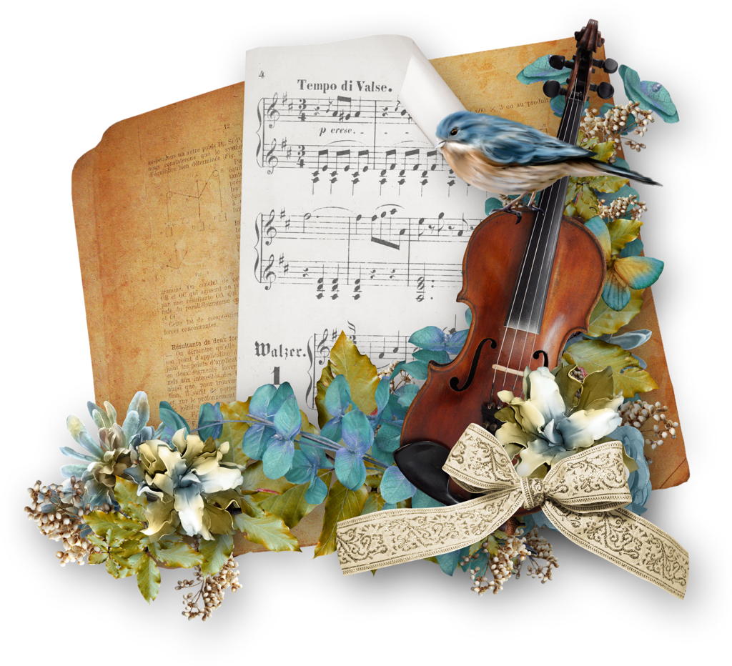 Открытка с музыкальными инструментами