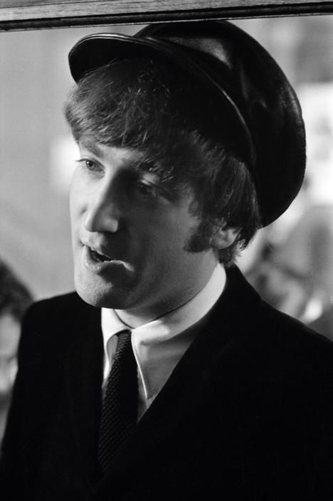 J Lennon during filming of 'A Hard Days Night'. 1964.