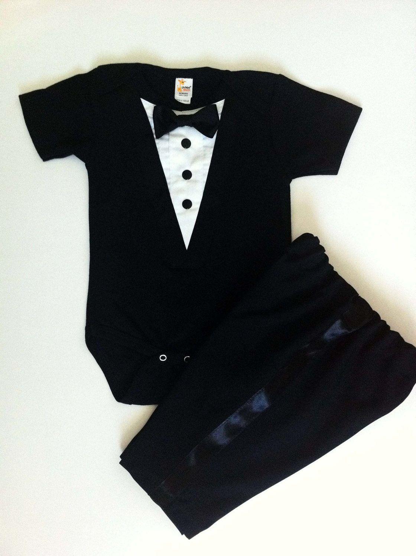 4fe148485 Ethan's tux! 1pc Tuxedo Infant Onesie Formal Black. $27.99, via Etsy ...