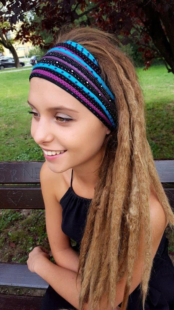 Dreadlock Accessories Turquoise Purple Black Headband Polka Dot Head