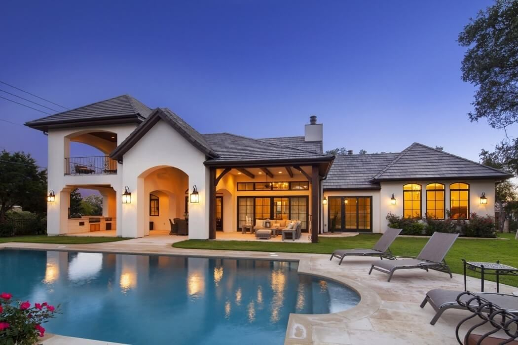 Transitional french home designed by vanguard studio located in north austin texas united states