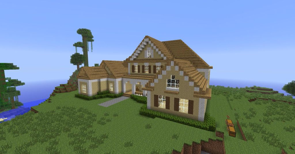 This Is A Nice Little Log Cabin Cute Country Themed House It Is Oak Wood Birchwood And A Fe Modern Minecraft Houses Minecraft Roof Minecraft Houses Blueprints