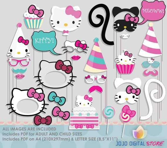 Sale Cute Kity Photo Booth Props Colorful Hello Kitty Photos Hello Kitty Theme Party Hello Kitty Birthday