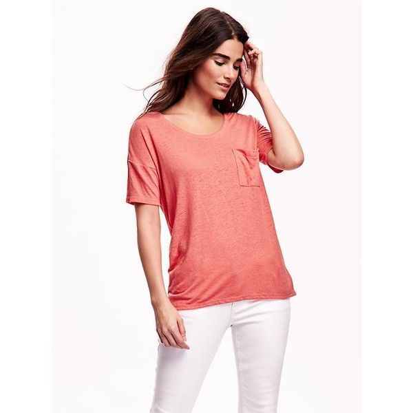 e675b1fe Old Navy Linen Blend Boyfriend Tee ($17) ❤ liked on Polyvore featuring tops,