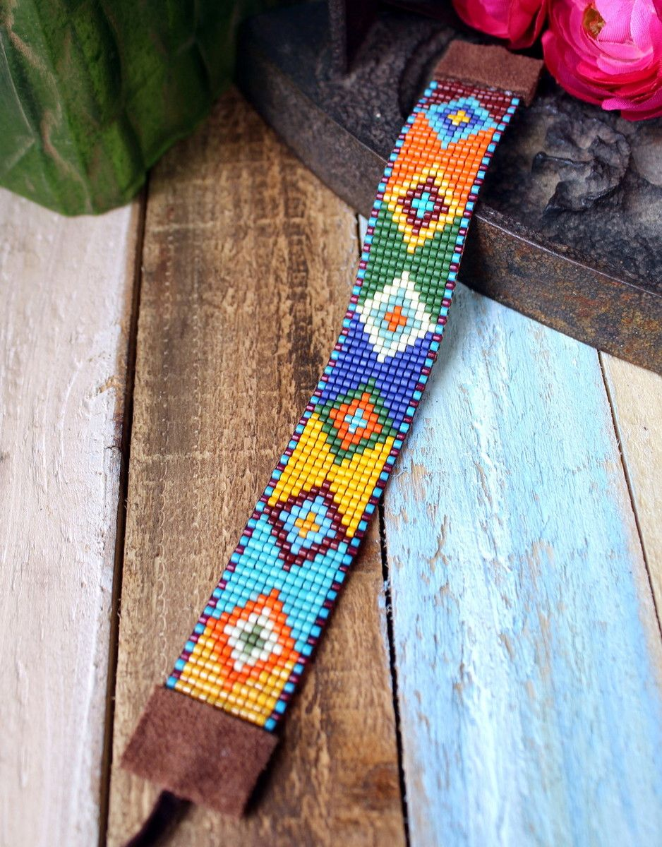 Colorful Aztec Hand Loomed Beaded Bracelet #beads