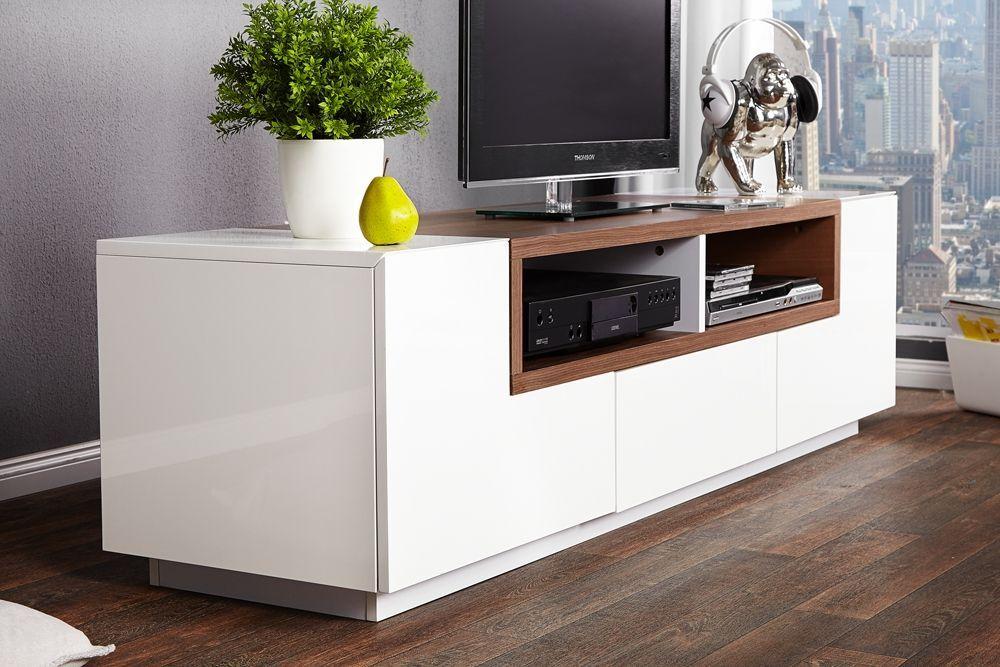 meuble tv design bosselli high gloss blancbois massif - Meuble Tv Bois Massif Blanc