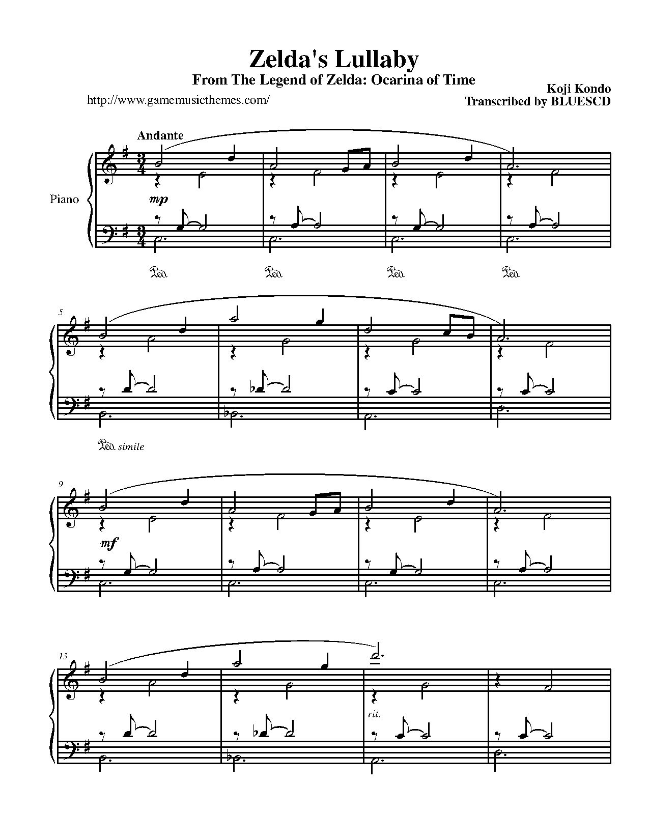 The Legend Of Zelda Zelda S Lullaby P 1 Piano Sheet Music