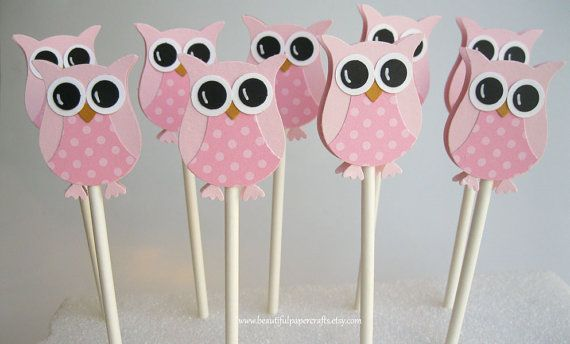 Pretty In Pink Owl Cupcake Toppers Owl Baby Shower Decorationst