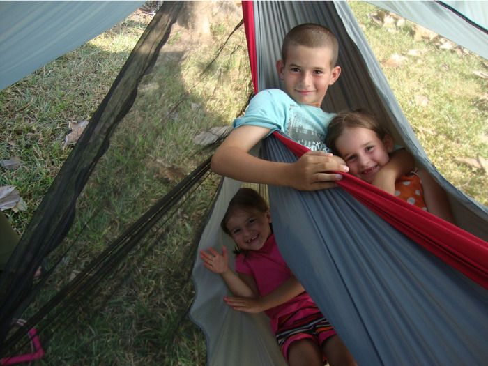 The Nube hammock shelter...with kids