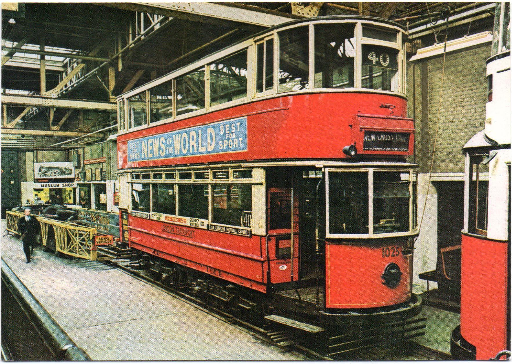 TRAMS BUSES POSTCARD LONDON TRANSPORT MUSEUM TRAINS