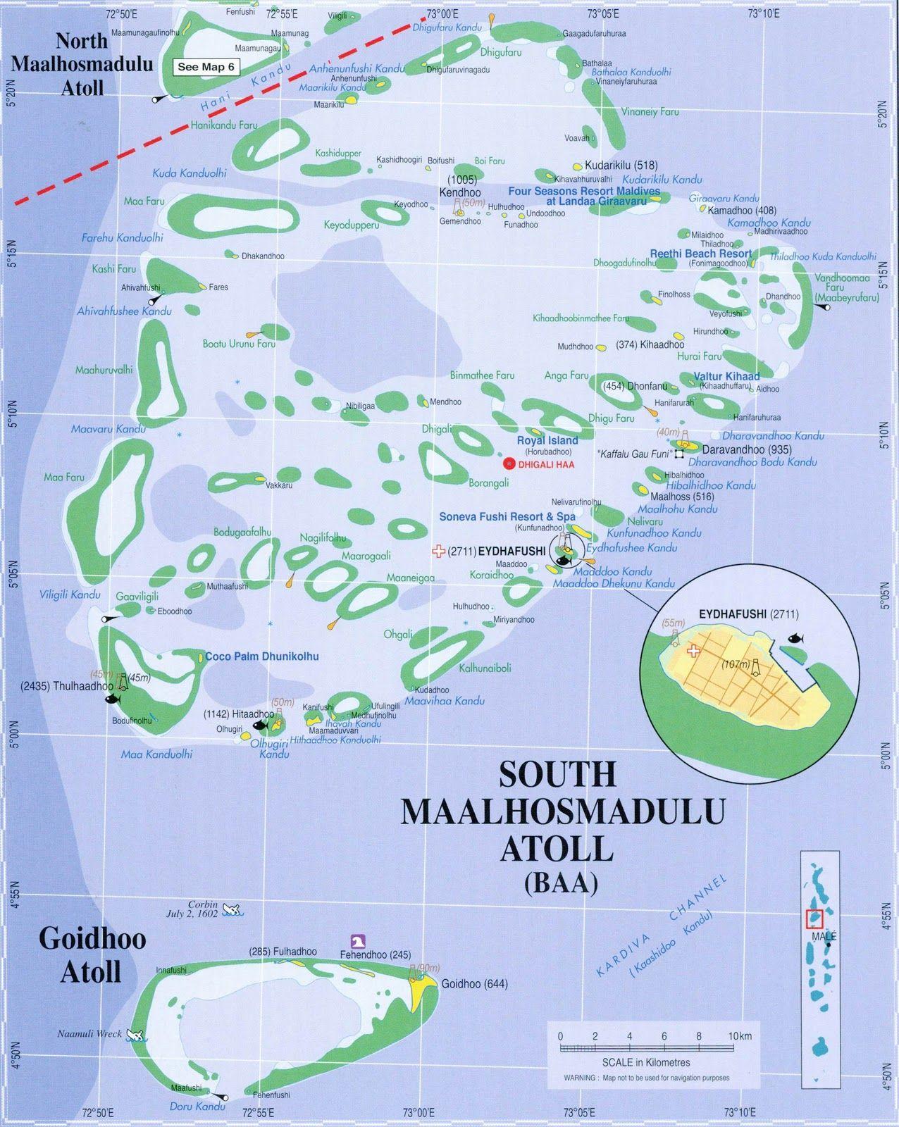 Map Of The Baa Atoll Maldives Southern Maalhosmadulu