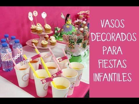 Vasos decorados para fiestas infantiles youtube - Mesa dulce infantil ...