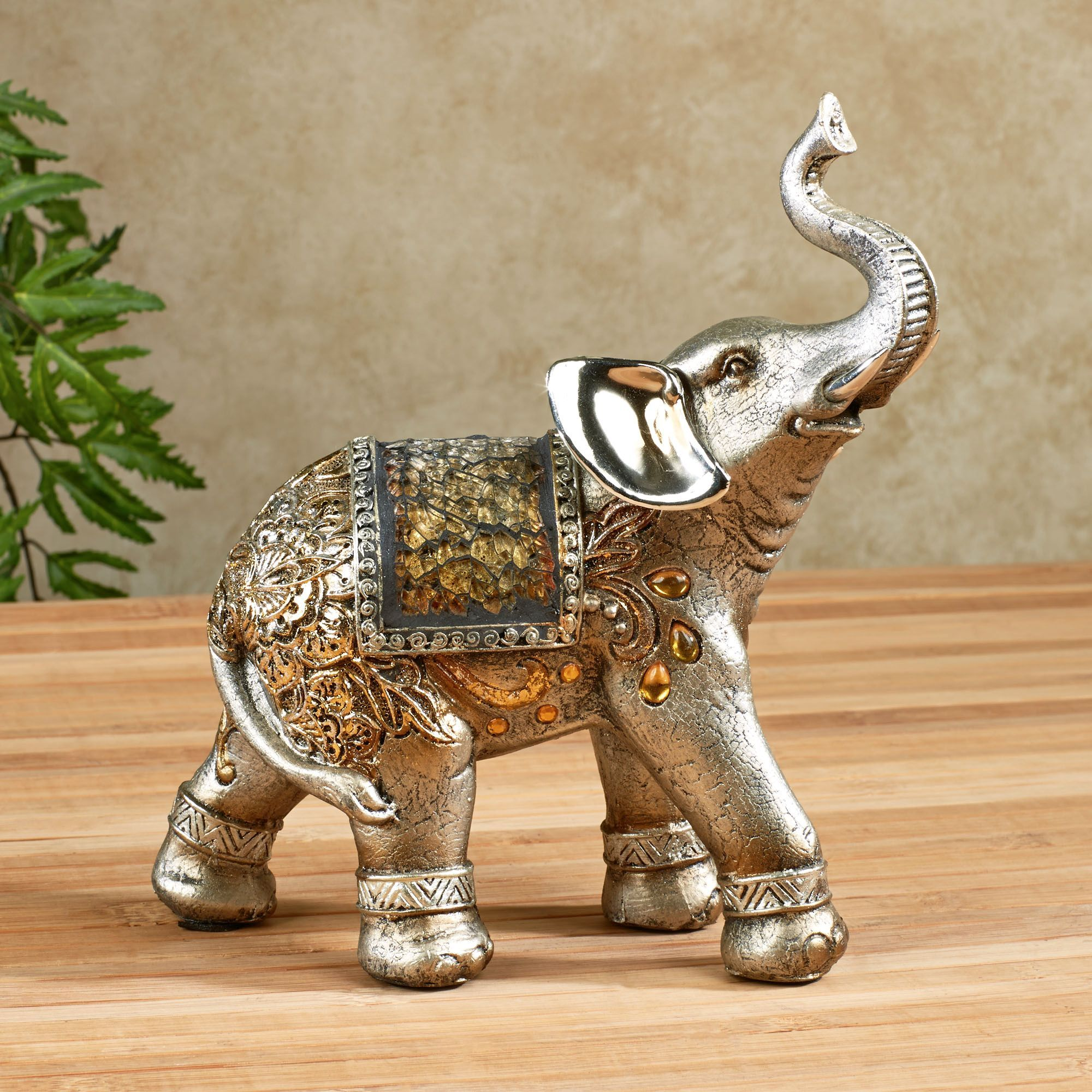 bejeweled mosaic elephant figurines for home decoration