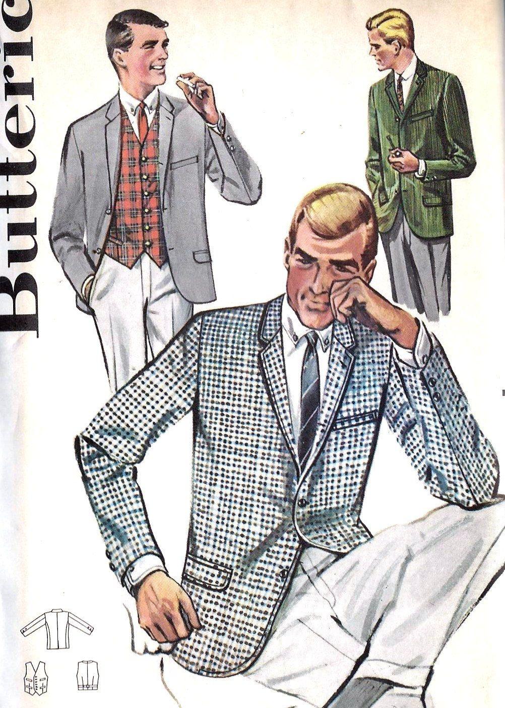 1950s Mens Jacket and Vest Vintage Sewing Pattern, Butterick 2125 ...
