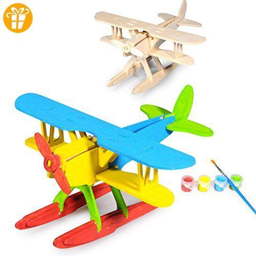 3D Hölzernes Puzzlespiel, ESOOR Woodcraft 3D Puzzlespiel zusammenbauen und malen DIY Spielzeug-Installationssatz, Hankel Flugzeug - Fidget spinner (*Partner-Link)