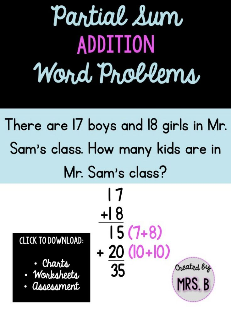 Use the partial sum method to solve addition word problems!! Great ...
