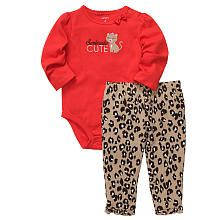 Carter's Girls 2 Piece 'Seriously Cute' Embroidered Long Sleeve Bodysuit with Cheetah Print Pant Set