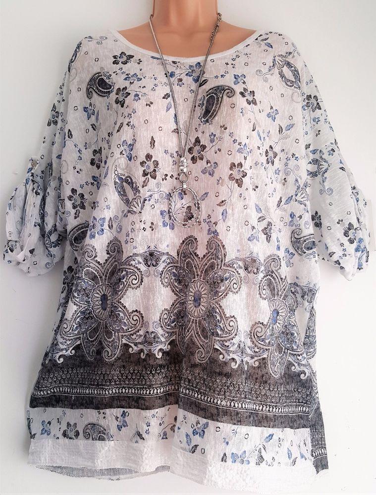 23cdb716960c6 New Lagenlook Ladies Pretty White Floral Print Tunic Top uk 12 14 16 18   ITALIAN  top