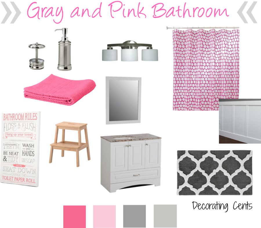 Pink And Grey Bathroom Accessories. Decorating Cents Gray And Pink Girls Bathroom El Ba O Wonderful Grey Accessories Ideas  Best