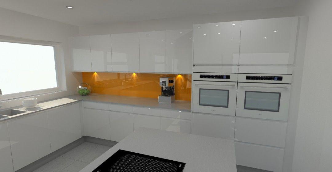 Best High Gloss White Kitchen With Orange Splashback 400 x 300