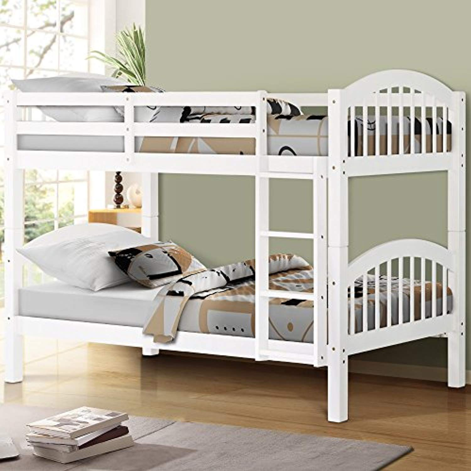 Harperandbright Designs Twin Over Twin Solid Wood Bunk Bed White