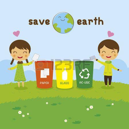 Reciclaje Dibujos Animados Salvar La Tierra Muchacho Reciclaje Y Nina El Concepto De Ecologia Vectores Imagenes De Reciclaje Reciclaje Dibujos