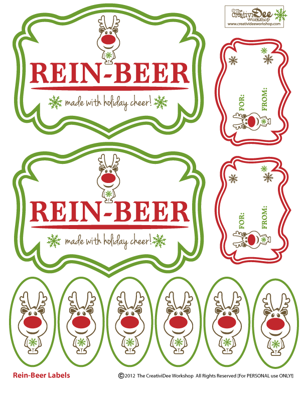 Rein Beer Free Printable F R E E B I E S Creatividee Ws