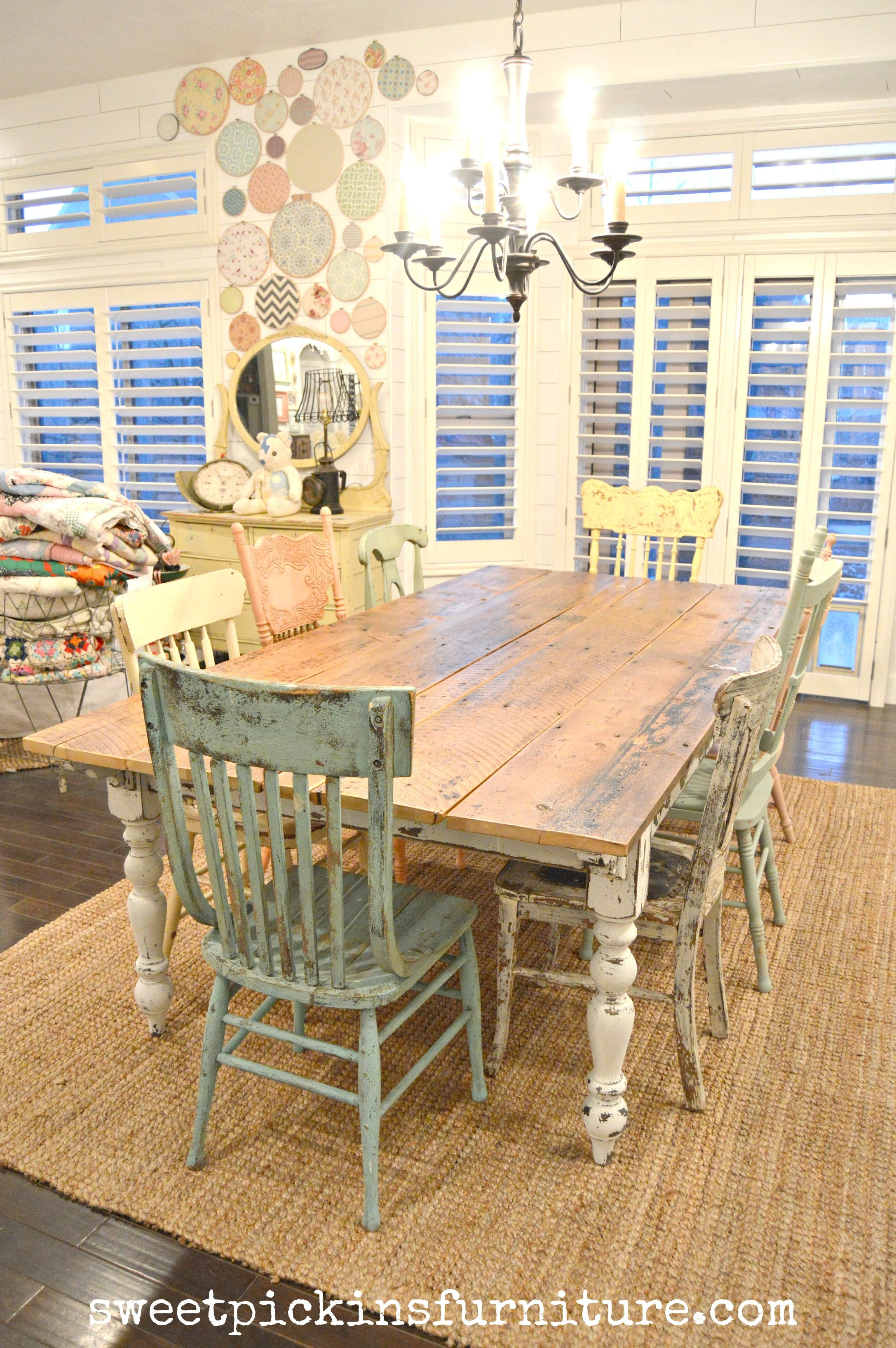 farm style kitchen table Zinc topped Table Mismatched Chairs in Rainbow Colors My new farm style
