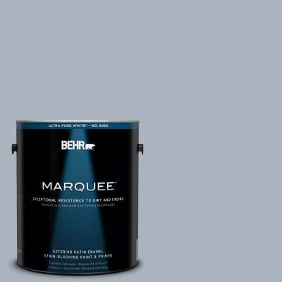 Behr Marquee 1 Gal Mq5 23 Intercoastal Gray Satin Enamel Exterior Paint Primer 945401 The Home Depot Behr Marquee Behr Marquee Paint Exterior Paint