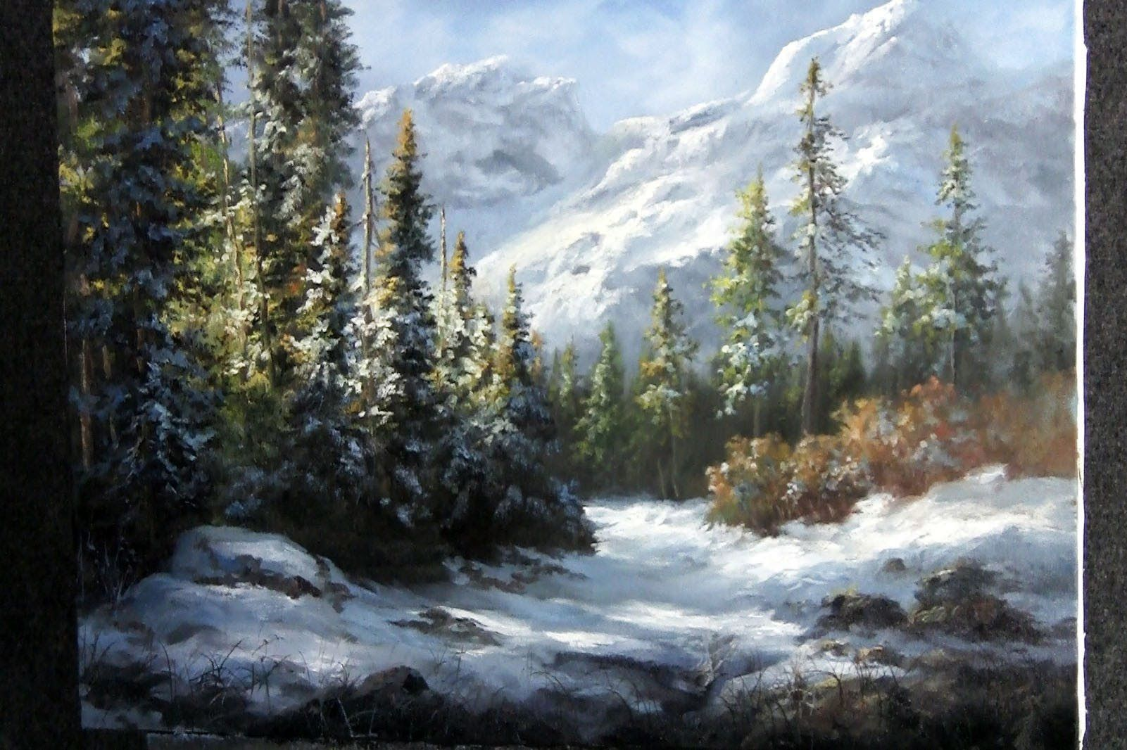 Have You Ever Tried Painting Snow But Struggle To Make The White Highlights Stick Watch Kevin As Bob Ross Paintings Oil Painting Landscape Mountain Paintings