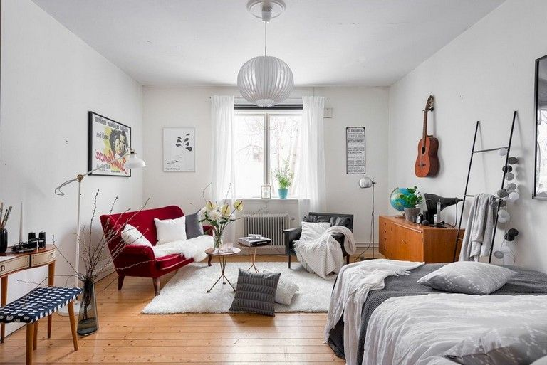55 Awesome Studio Apartment With Scandinavian Style Ideas On A Budget Page College Apartment Decor Apartment Bedroom Decor Living Room Furniture Arrangement Two bedroom apartment in scandinavian