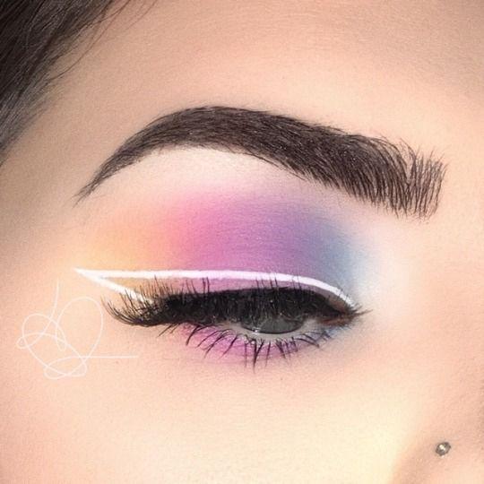 Photo of @ɪsᴀʙᴇʟʟᴀғᴀʙᴀ Pastel colorful eyeshadow makeup look wi White Eye…