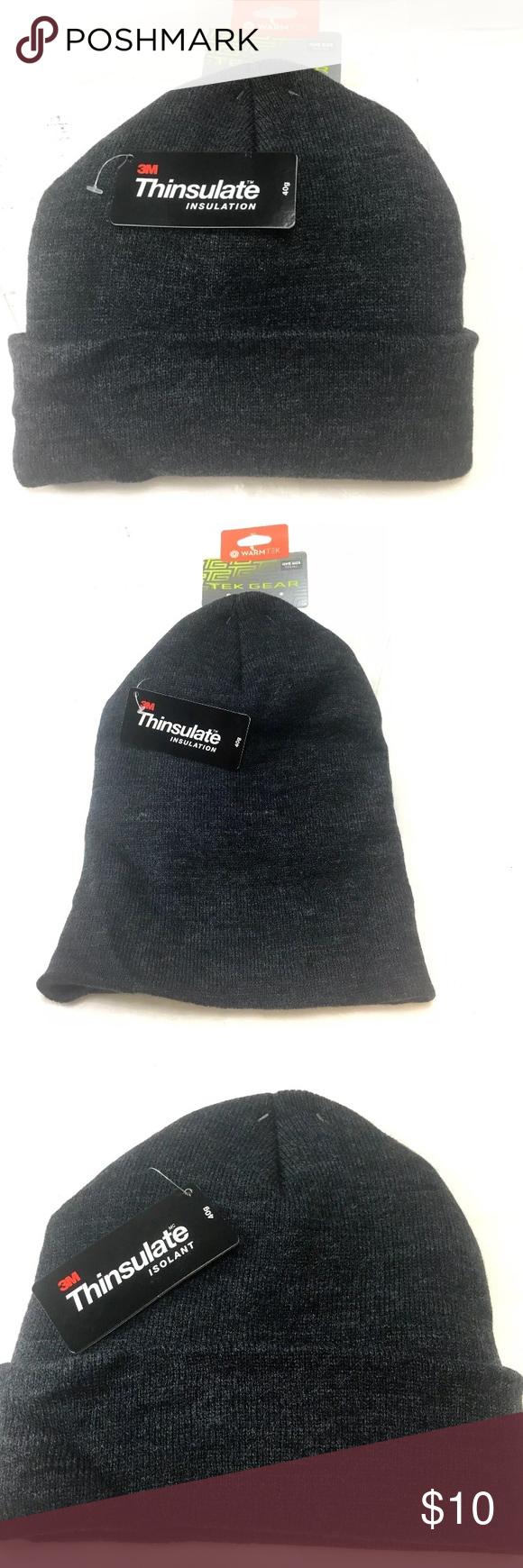 0eac2d0df73 Tek Gear 3M Thinsulate Knit Watch HAT Beanie Tek Gear 3M Thinsulate Gray  Knit Watch HAT
