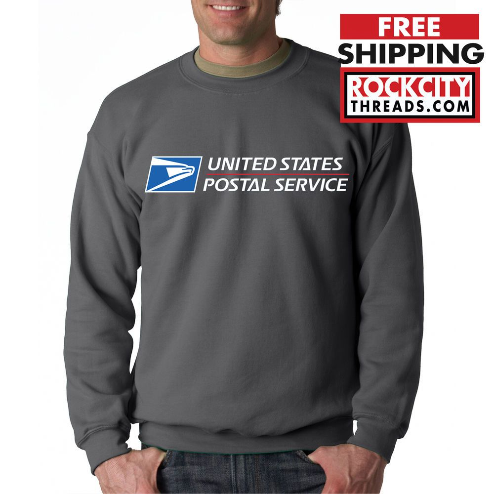 USPS POSTAL BLACK CREW NECK Sweatshirt with Logo on Chest United States Service