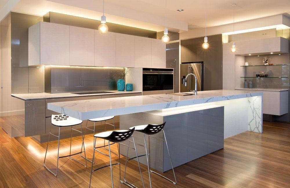 Jag Kitchens And Stoneware Productions Smartstone Island Bench With Half Waterfall Edge Grey Kitchen Interior Kitchen Inspiration Design Best Kitchen Layout