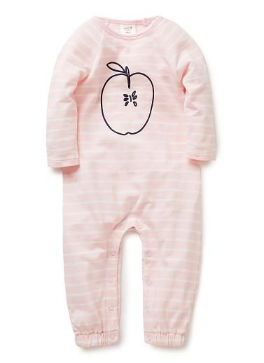 100% Cotton Jumpsuit. Light-weight french terry jumpsuit in yarn-dyed stripe. Long sleeve and long leg, with snaps in inner leg for easy dressing. Features applie print on front. Available in Musk Pink.