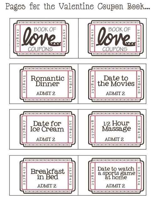 Free Printable Valentineu0027s Day Love Coupons For Him Lottery - free coupon book template