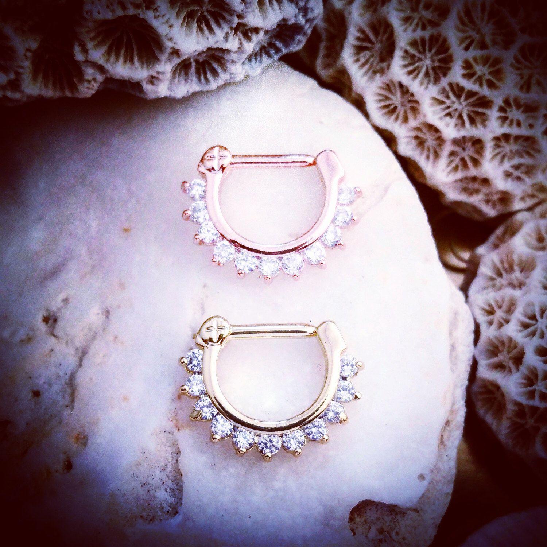 Diamond Crystal Septum Clicker 16G Rose Gold Septum Ring 16 Gauge
