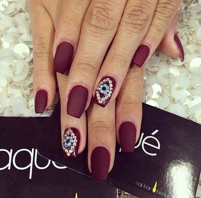 Obssessed Gorgeous Matte Evil Eye Burgandy Nails Nails
