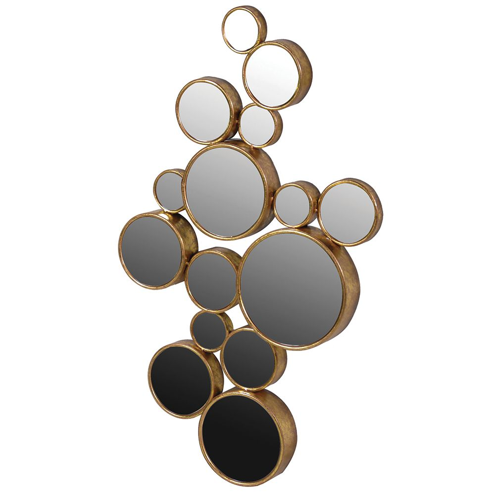 15 Circles Decorative Mirror Antique Gold Mirrors Accessories Lighted Wall Mirror Mirror With Lights