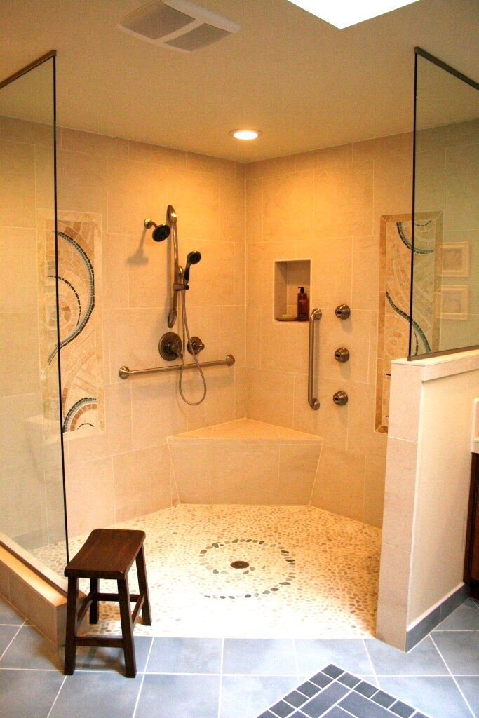Aging in place and ada sympathetic bathroom remodel by for Ada bathroom layout