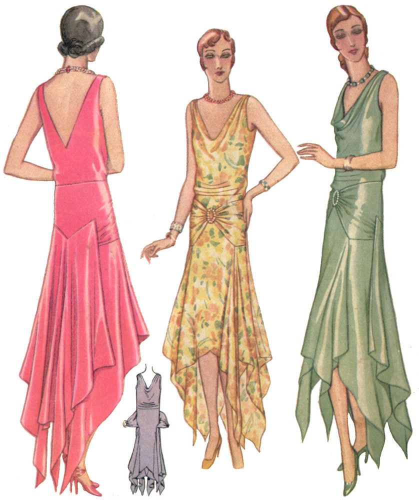 Z5941 - 1920s Fishtail Evening Gown Sewing Pattern (LG) - Gatsby ...