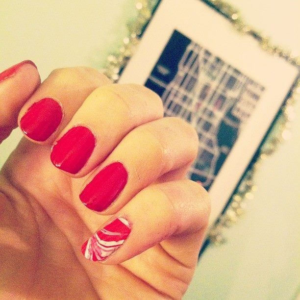 Christmas/Holiday nails. OPI Big Apple Red & Essie Blanc. Simple water marbling on pinky.