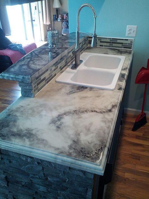 refinish kitchen countertop track lighting kits premium white marble fx poxy kit | counter tops ...