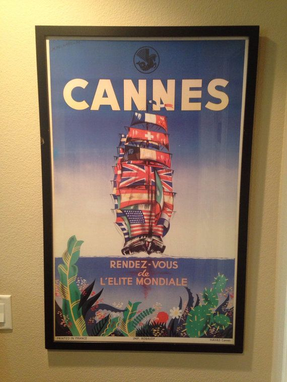 Cannes Travel poster, travel art print, travel poster spain