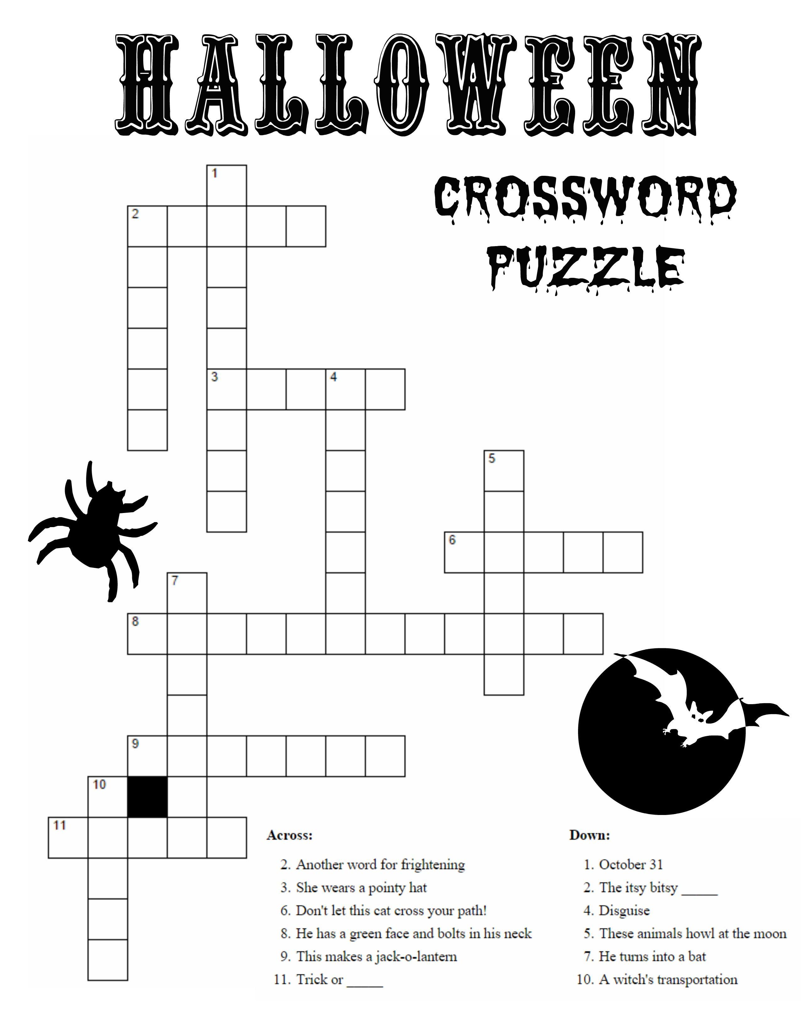 Crossword Kid Halloween Activities Halloween Crossword