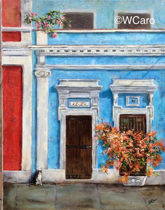 Peachy Bouganvillea 11x14 Oil on Canvas Available, unframed  The latest on one of my collection of colonial façades, acqua blues, variegated oranges and a black and white cat. A tuxedo cat? This Old San Juan door is in Calle Sol, Sol street, in Puerto Rico. It ships unframed. The canvas will easily fit in readily available open frames, a standard size 11x 14.  Here are other paintings, to make a collection... https://www.etsy.com/listing/258639952/cat-in-old-san-juan-...