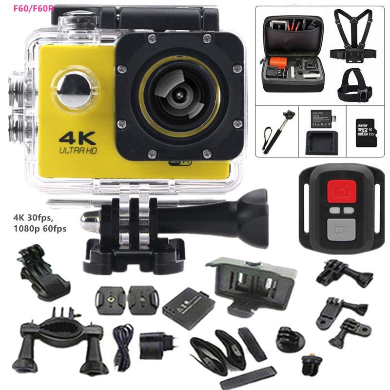 액션 카메라 F60/F60R 2.4 그램 원격 울트라 hd 4 천개 12mp 액션 비디오 카메라 방수 익스트림 프로 스타일 스포츠 카메라 + 추가 세트