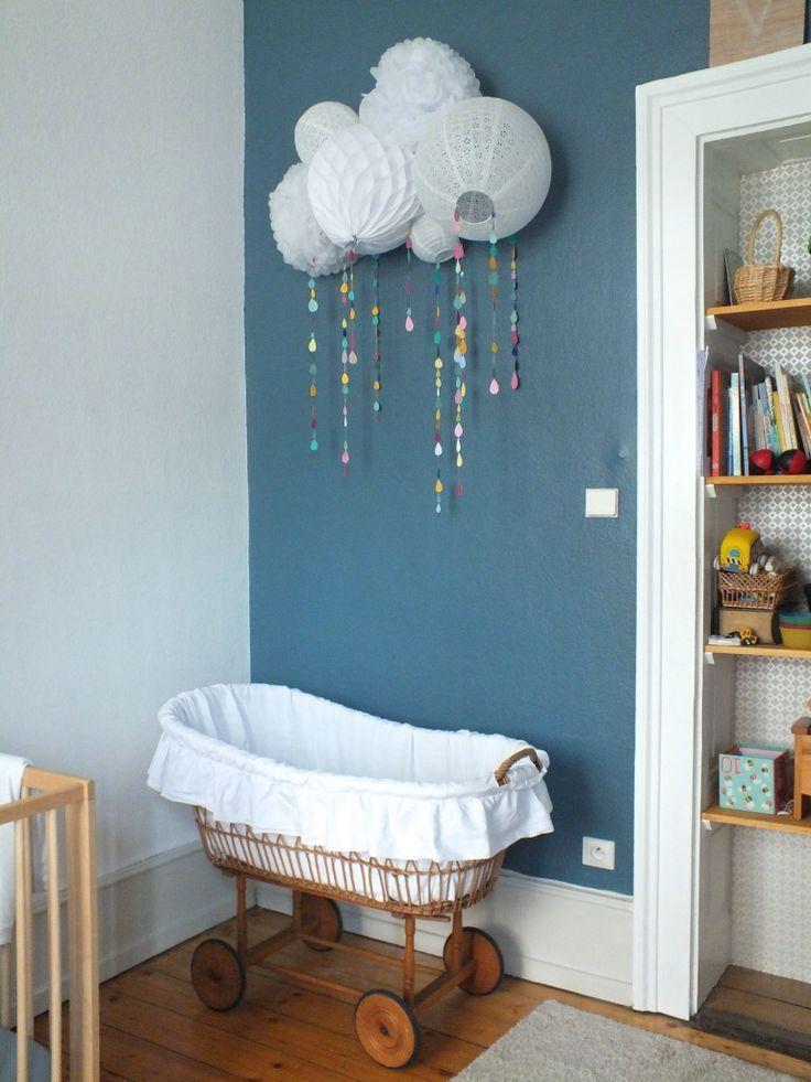 Eine Wolke Auf Lampions Fürs Babyzimmer. U003eu003eLampions über Der Wiege/bunte  Regentropfen